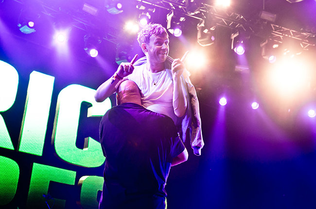 Mandatory Credit: Photo by Matias Altbach/REX Shutterstock (2759844j) African Express - Damon Albarn dragged off stage at Rosklide Festival Roskilde Festival, Denmark - 04 Jul 2015 Damon Albarn was carried off stage by security after refusing to end a set lasting five hours.